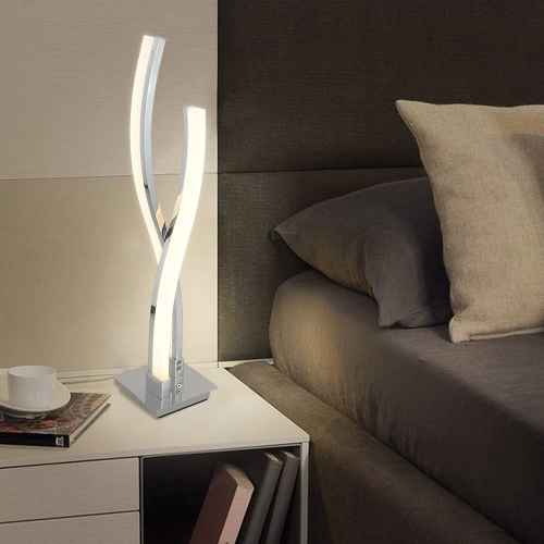 Karmiqi LED Table Lamps for Bedroom, Modern Bedside Lamp, Contemporary Arc Desk Lamp Nightstand Lamps for Living Room Guest Room