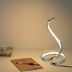 Karmiqi LED Table Lamp,7W Curved Desk Lamp,Modern Spiral Bedside Nightstand Lamp for Bedroom Living Room