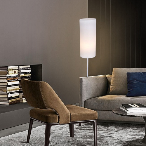 Karmiqi Floor Lamp for Living Room, Standing Lamp for Bedroom, LED Bulb Included, with White Cylinder Shade Metal Base, Modern Simple Design